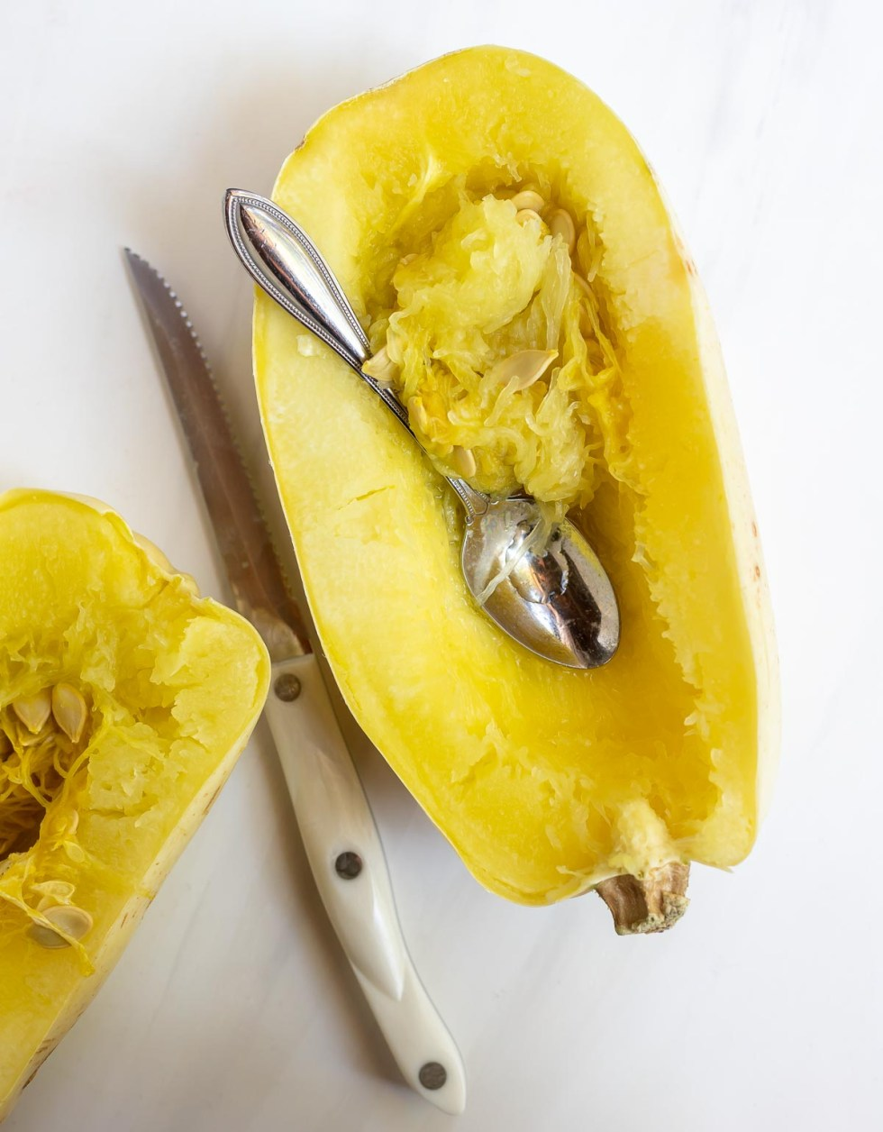 cooked spaghetti squash sliced in half. lengthwise
