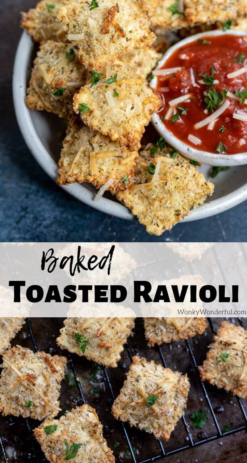 baked toasted ravioli recipe pinnable photo collage with recipe title text