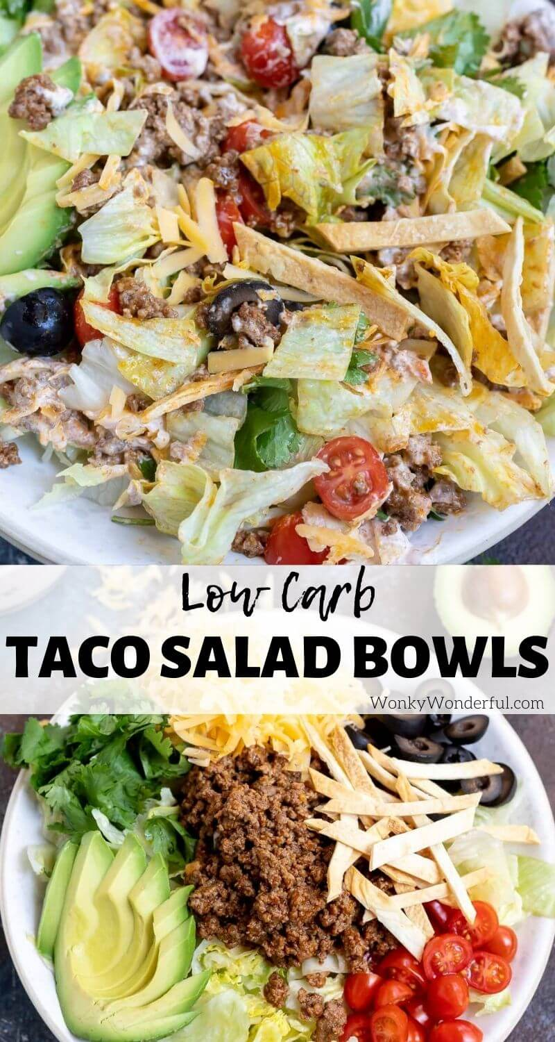 low carb taco salad bowl pinnable image with title text