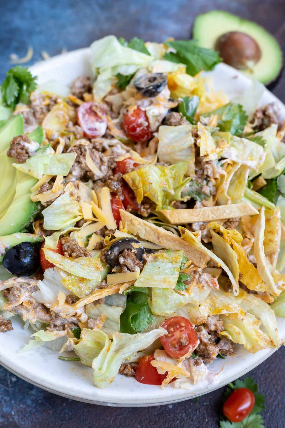 mixed taco salad in white bowl