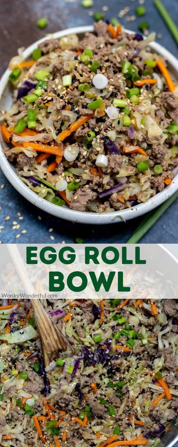 egg roll bowl pinnable image with title text