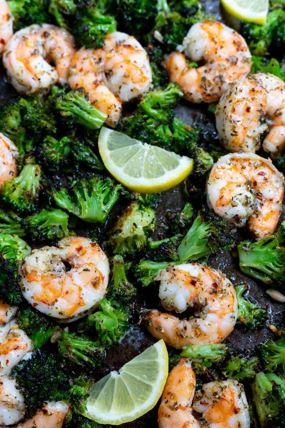 broccoli and shrimp with lemon on sheet pan