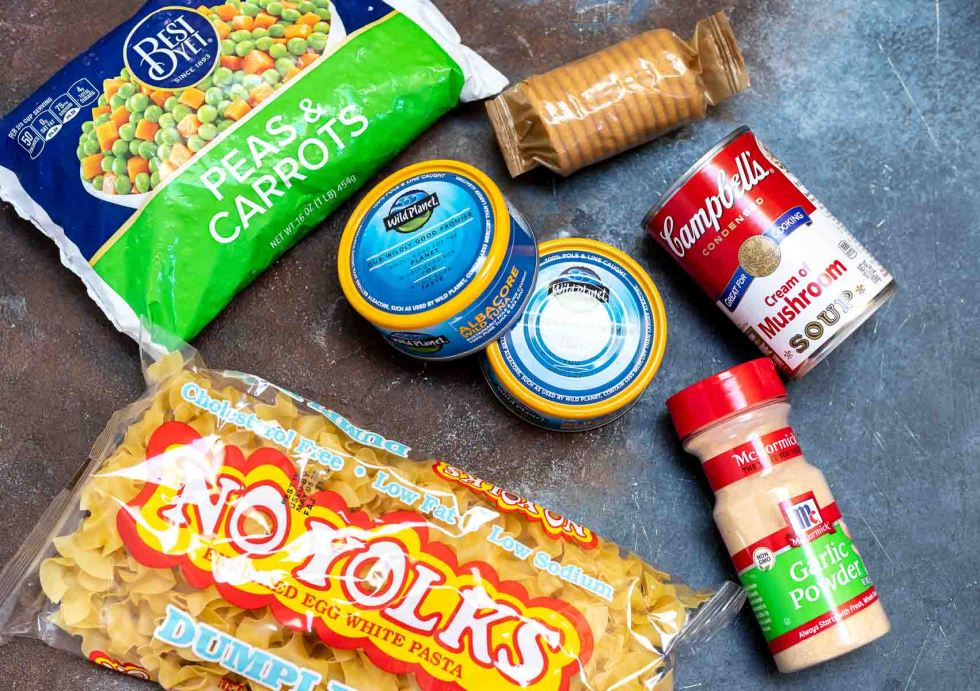 ingredients for tuna casserole in packages