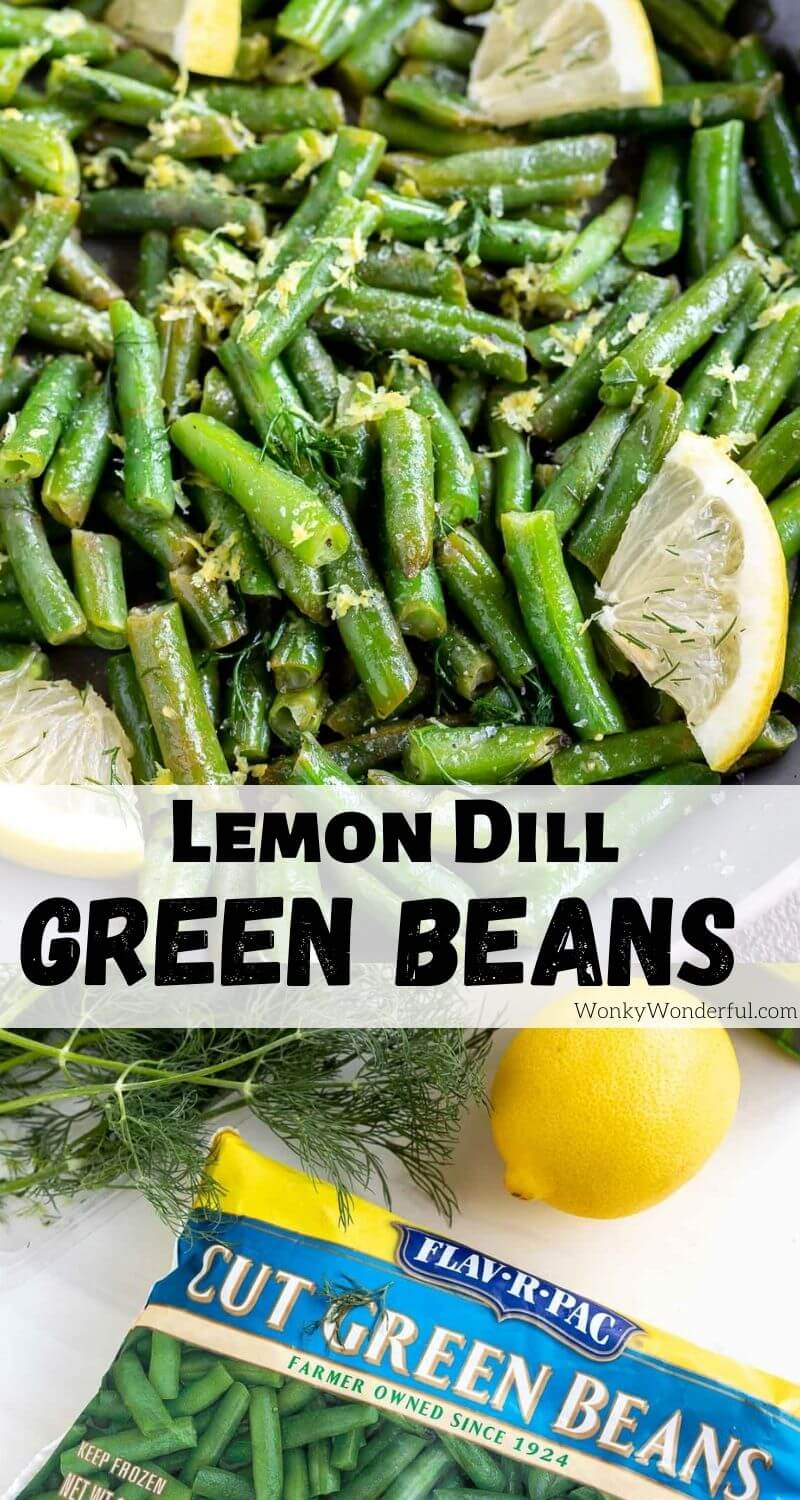 dill lemon green beans pinnable photo collage with recipe title text