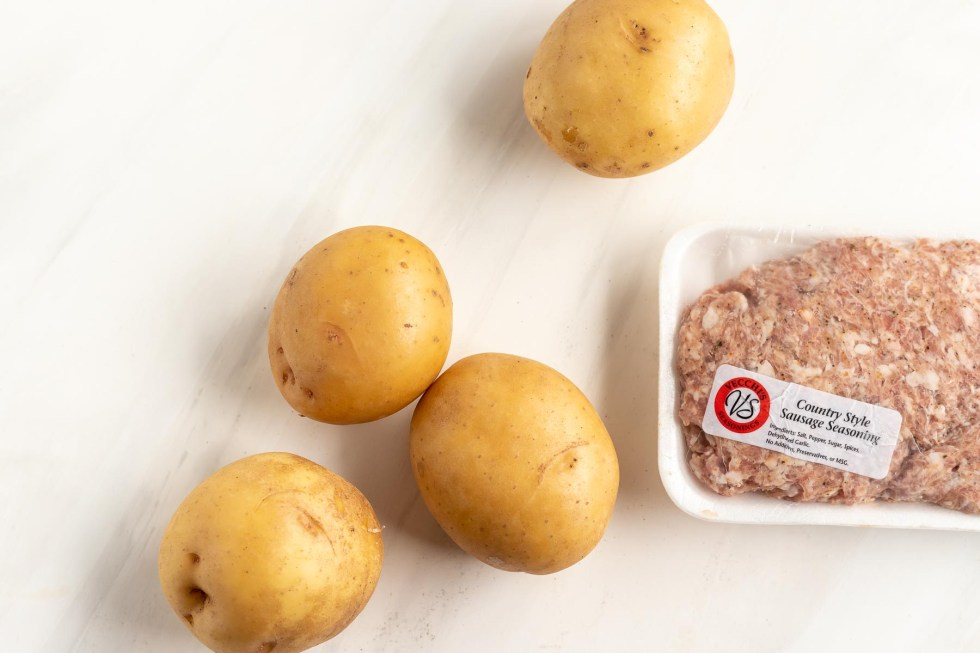 raw ground sausage and 4 gold potatoes