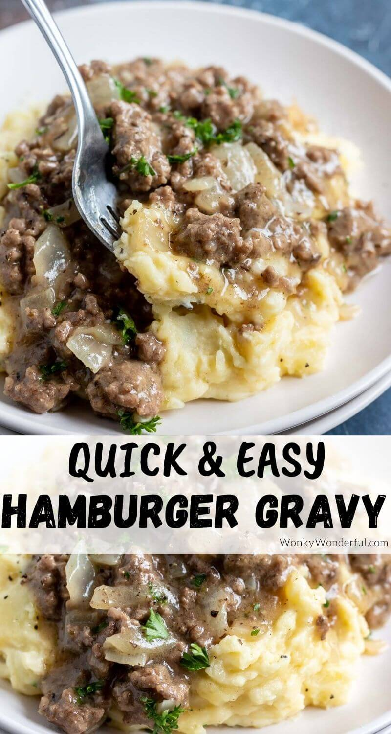hamburger gravy recipe pinnable image with title text