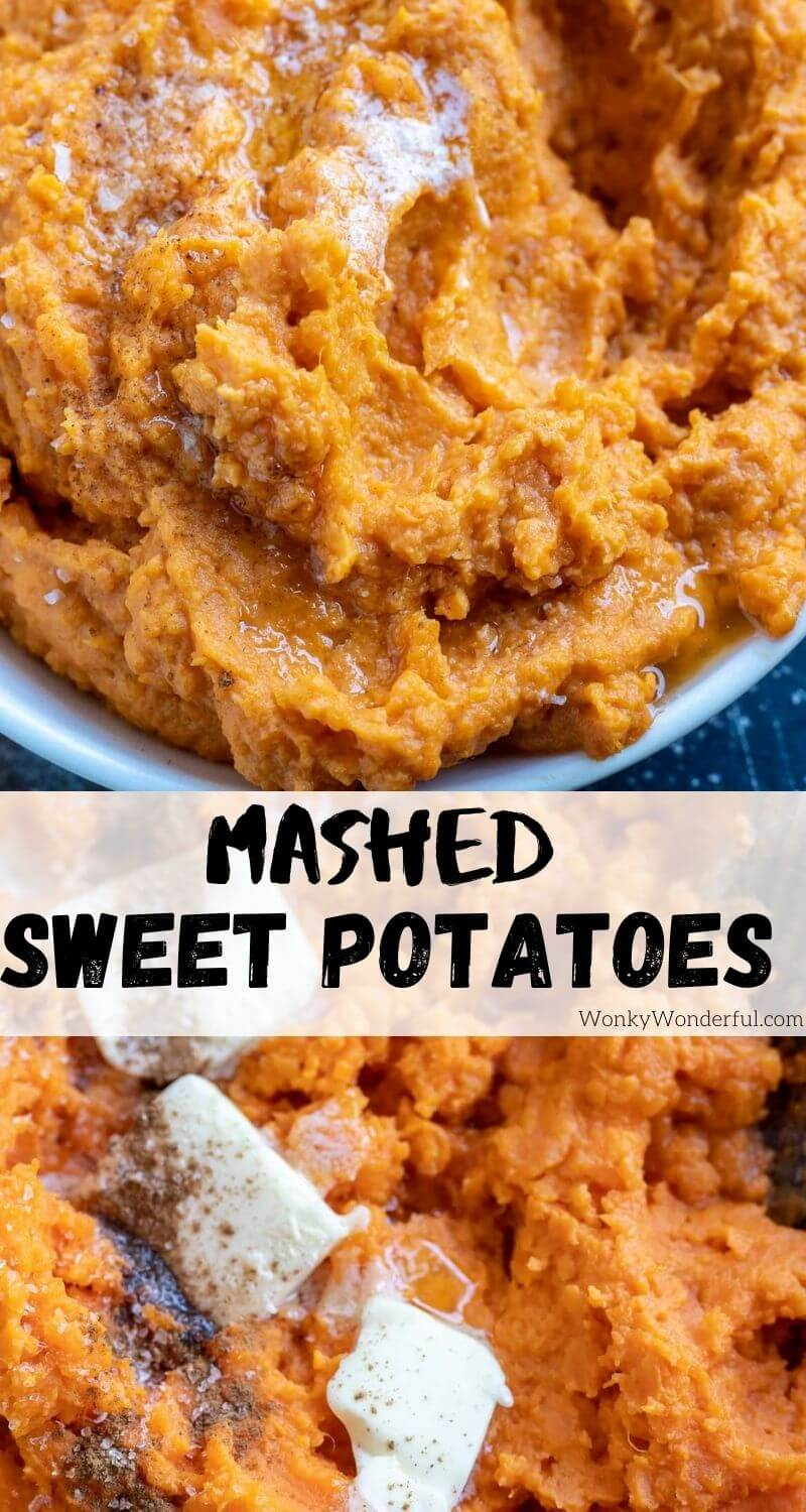 mashed sweet potatoes pinnable image with title text