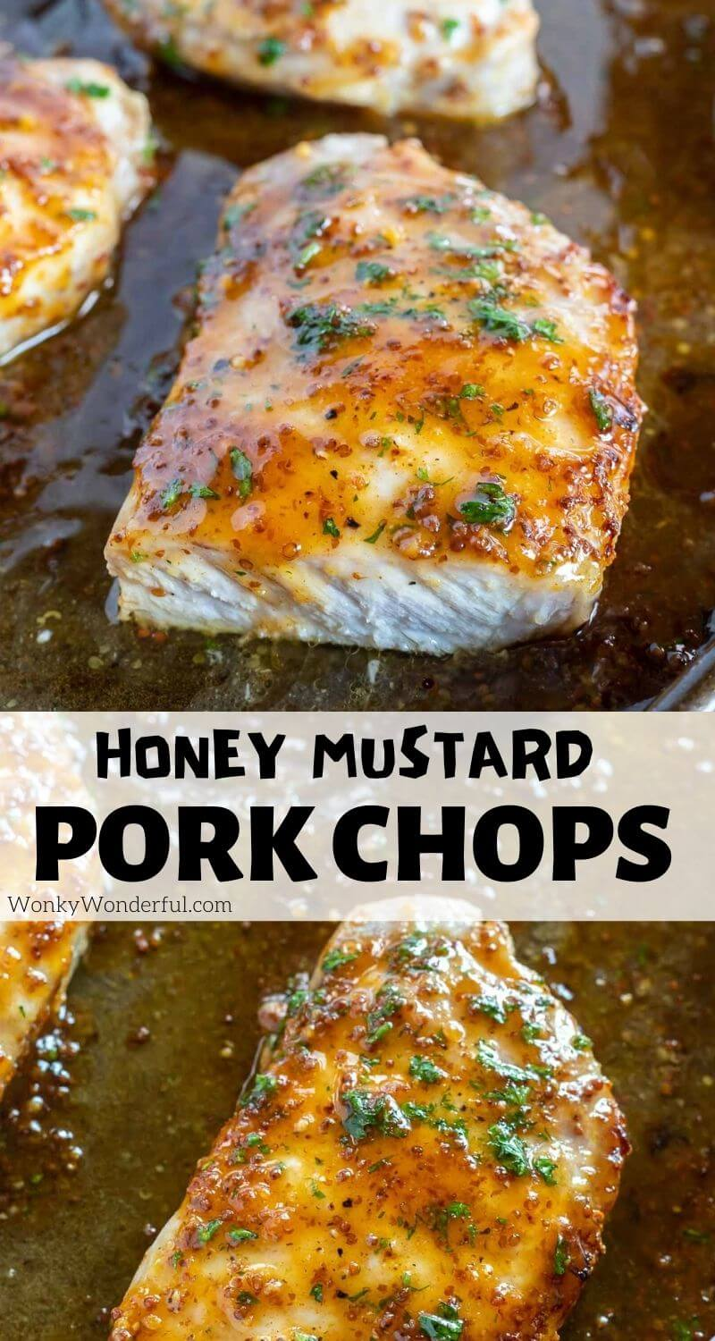 honey mustard pork chops in oven pinnable image with title text