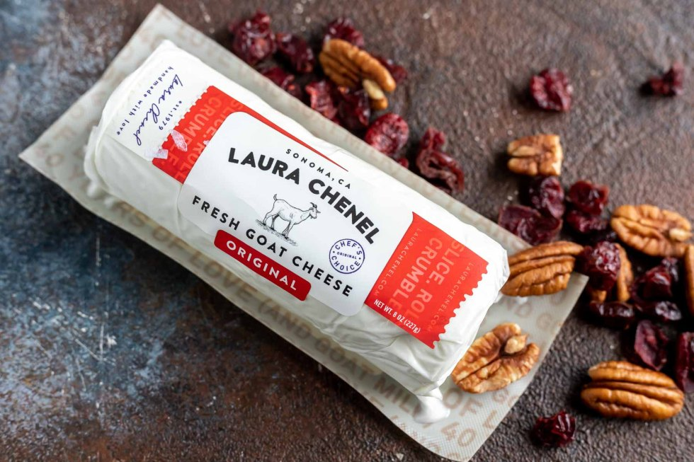 goat cheese package next to pecan and cranberries