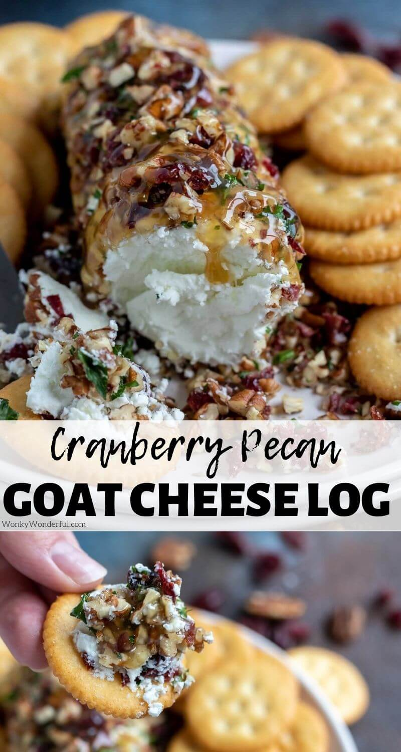 pecan cranberry goat cheese appetizer pinnable image with title text