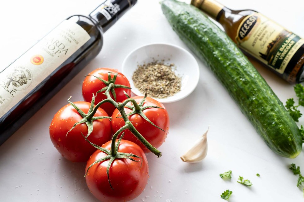 ingredients for tomato cucumber salad