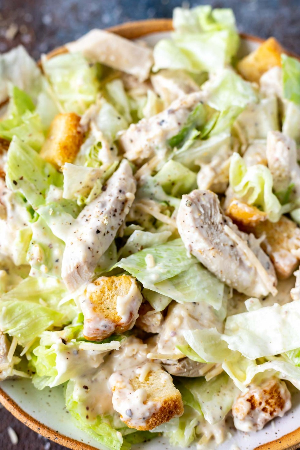 lettuce, chicken and croutons tossed in caesar dressing