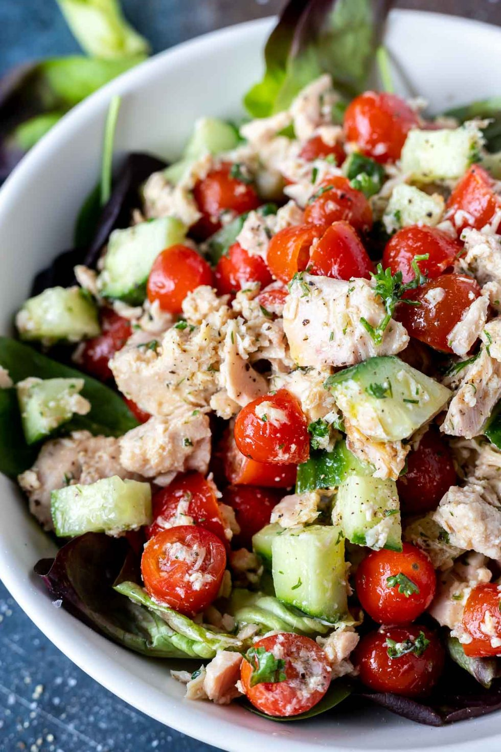 prepared tuna salad in white bowl