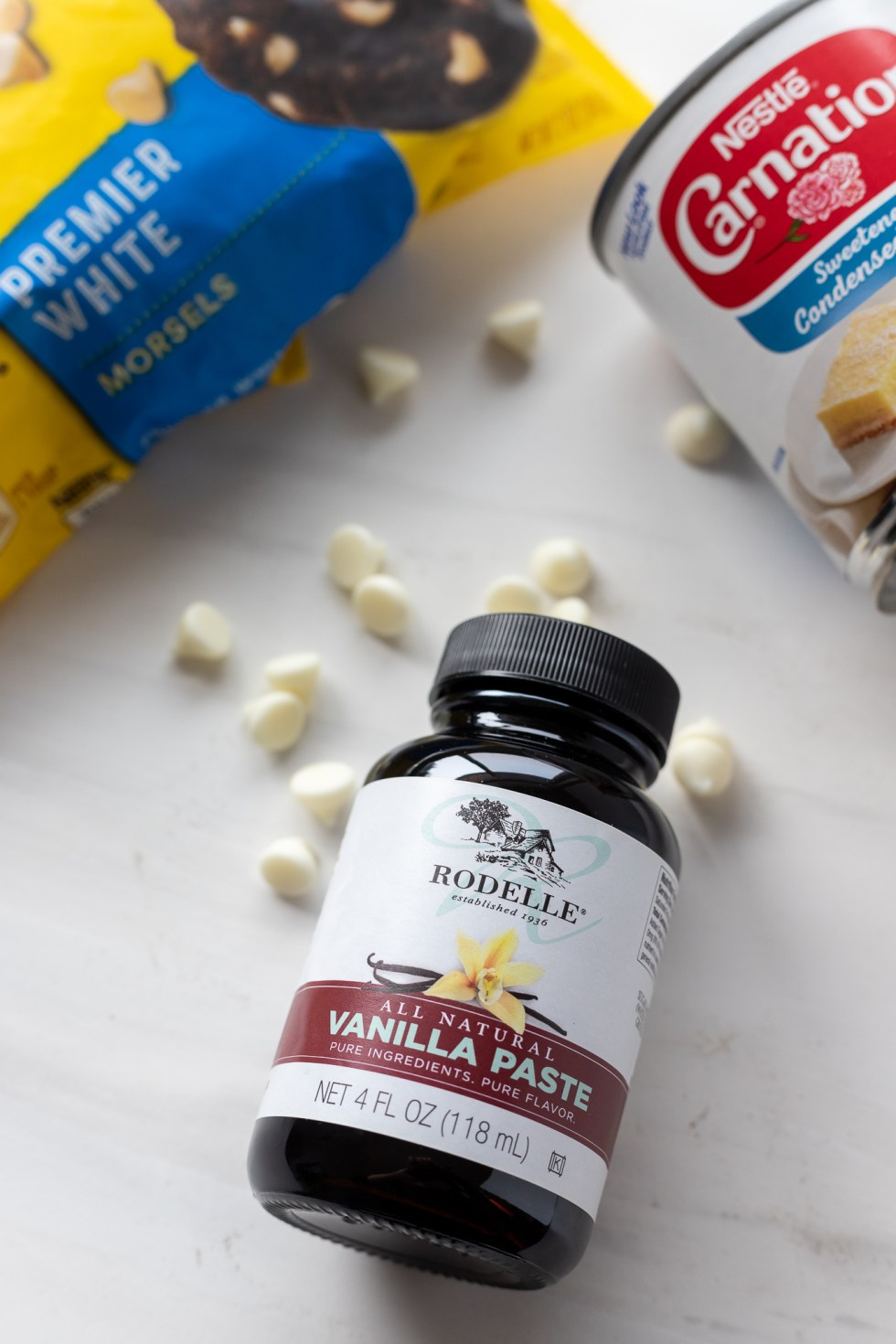 vanilla paste, white chocolate morsels and can of sweetened condensed milk