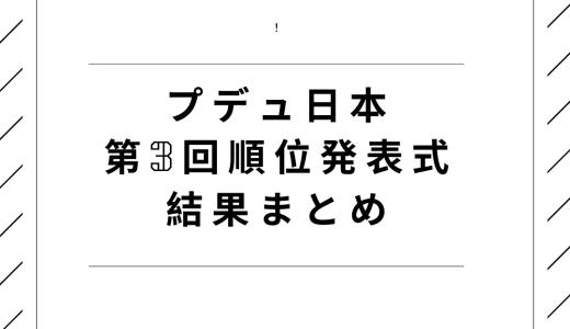 プロデュース101JAPAN(プデュ日本)第3回順位発表式結果まとめ!脱落は?