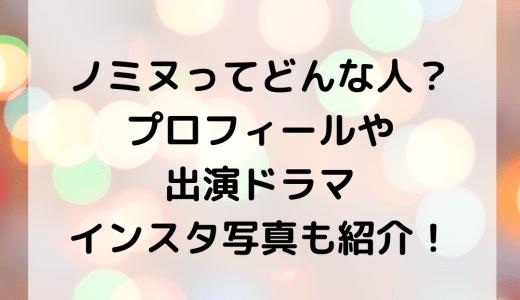 ノミヌってどんな人?プロフィールや出演ドラマ・インスタ写真も紹介!