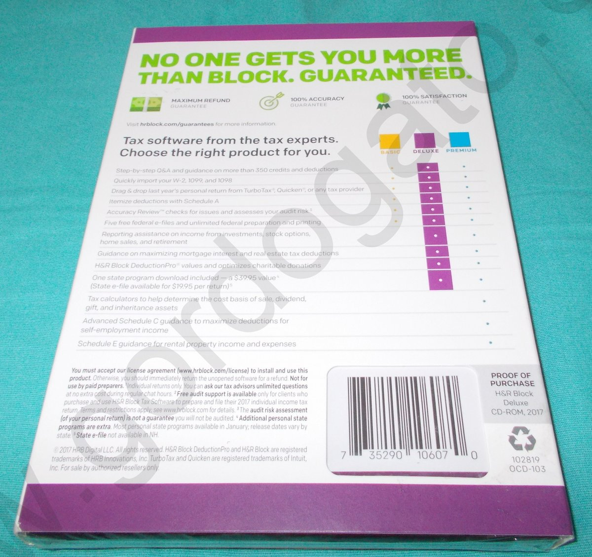H&R Block Deluxe Tax Software for 2017 Homeowners/Investors Federal & State  NEW