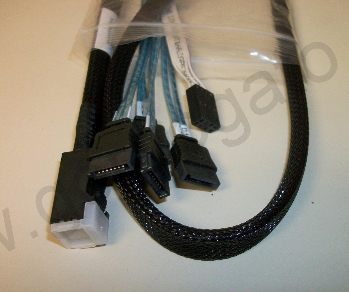 LSI00411 Mini SAS HD SFF8643 4 x SATA Breakout Cable w/ Sideband 1M, 3' LSI