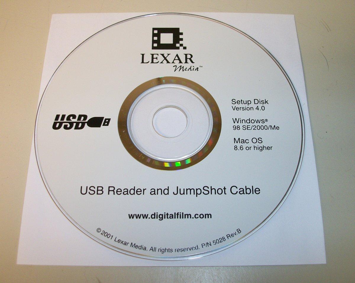 Original Driver CD Disc for Lexar Media USB Reader JumpShot Cable