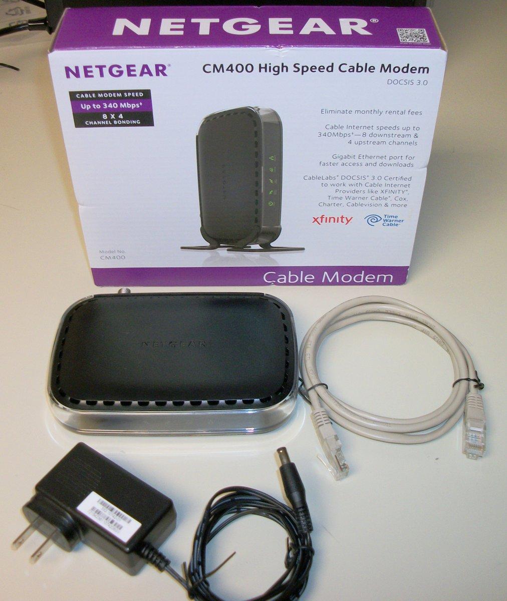 Netgear CM400-100NAS Cable Internet Modem DOCSIS 3 0 343 Mbps 8×4 Comcast  Xfinity