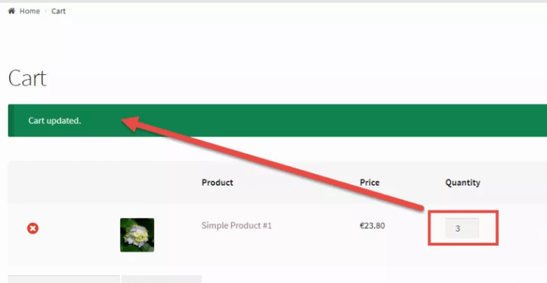 update-quantity on woocommerce cart page