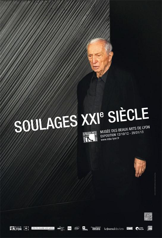 Affiche -Pierre Soulages-exposition-Lyon-Musée-Beaux-Arts