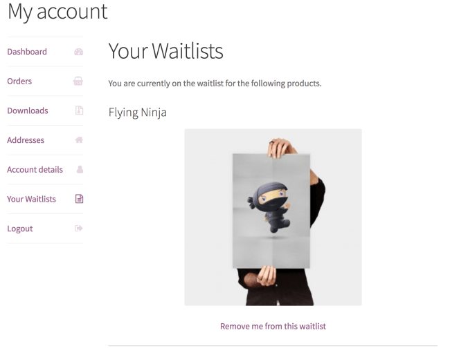 waitlist tab shown on the WooCommerce my account page