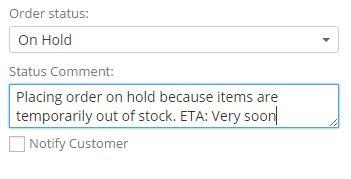 Change Order Status Notifier Order View Box