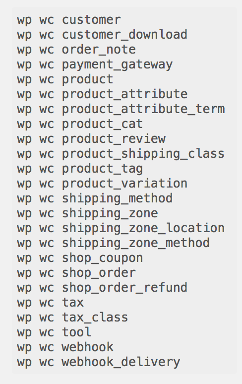 Commands available on CLI of WooCommerce 3.0