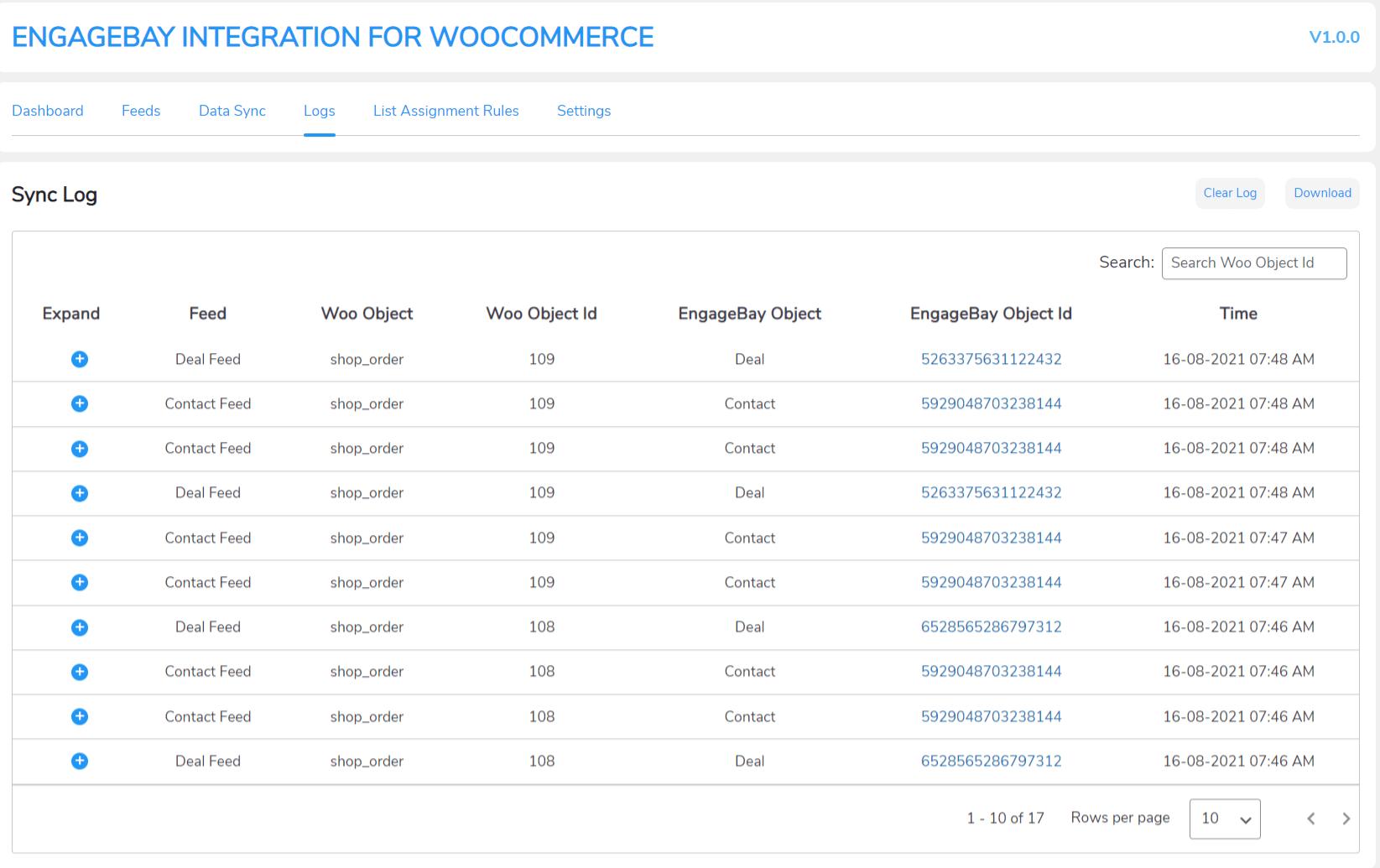 engagebay detailed sync logs