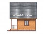 Дом из бруса 6х6 Холгер с мансардой, балконом, террасой и ...