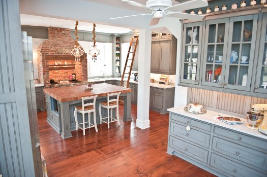 Wood Countertops With Blue Cabinetry Design By Art Davidson And Chris Ingram