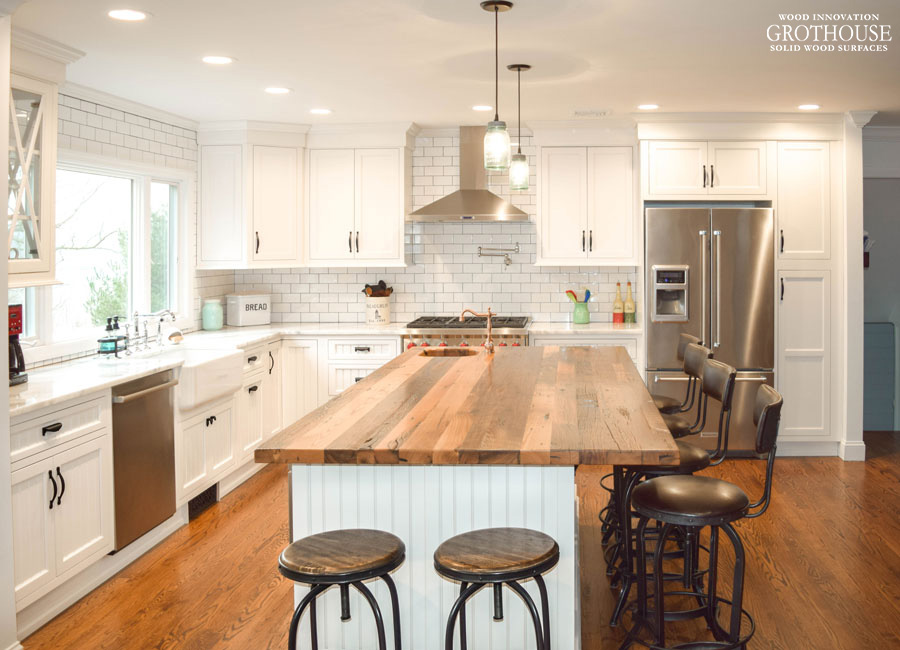 Reclaimed Chestnut Kitchen Island Countertop designed by ... on Farmhouse Countertops  id=48347