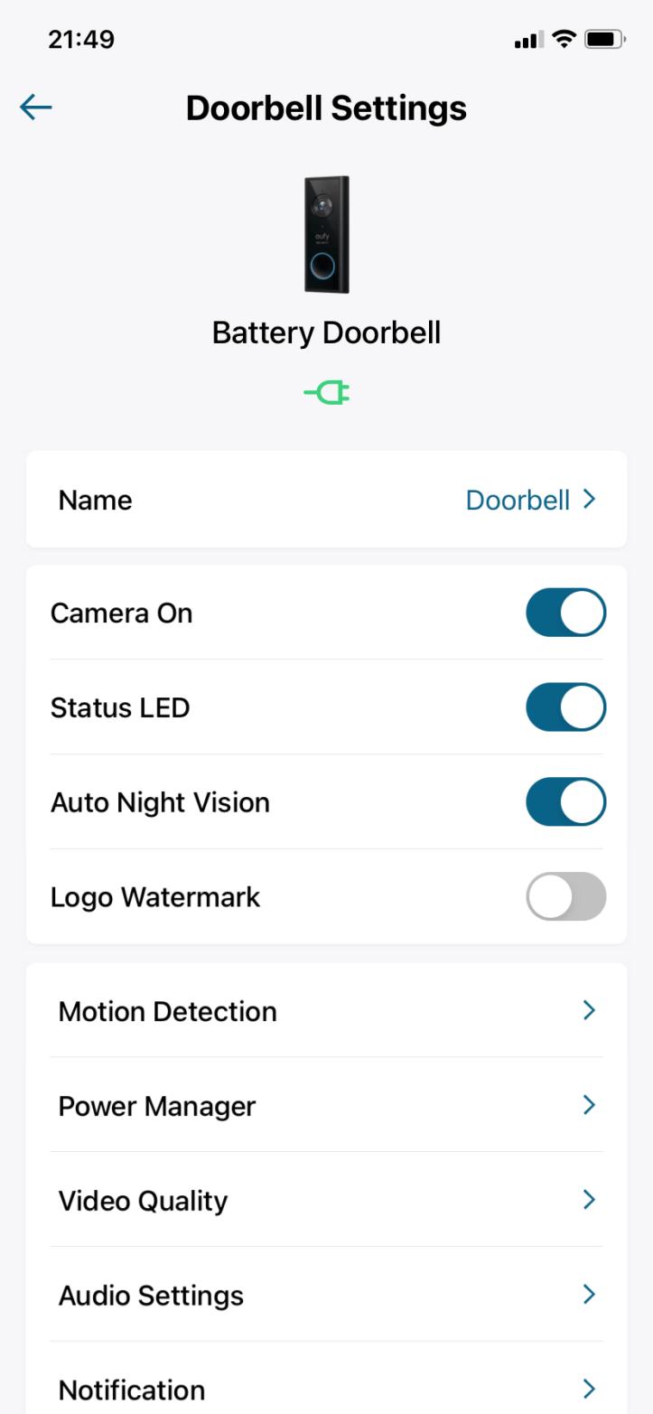 Eufy doorbell app settings 5