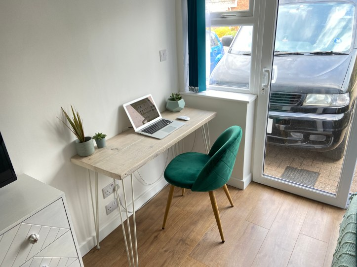 small desk setup with good light
