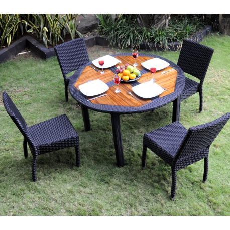 ensemble de jardin table ronde de jardin 4 chaises resine