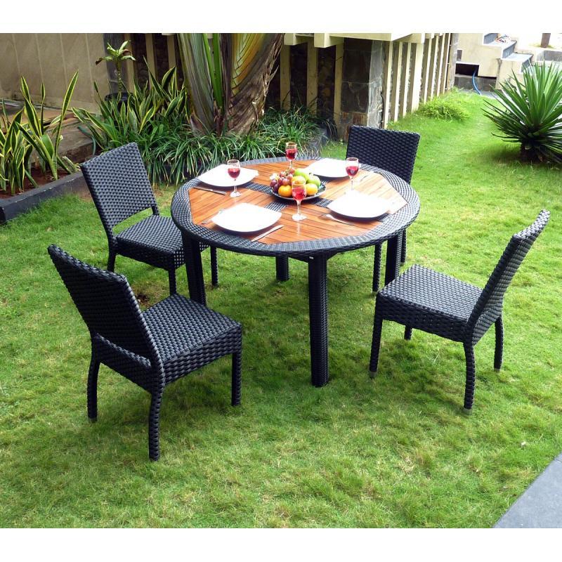 ensemble table ronde de jardin en teck
