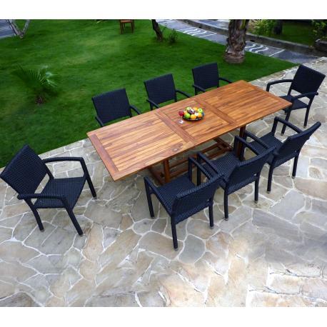 ensemble de jardin 10 places table en teck huile et 8 fauteuils en resine tressee