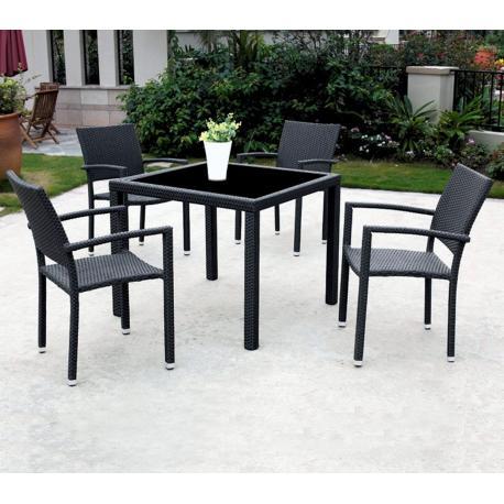 salon de jardin en resine tressee x4 fauteuils