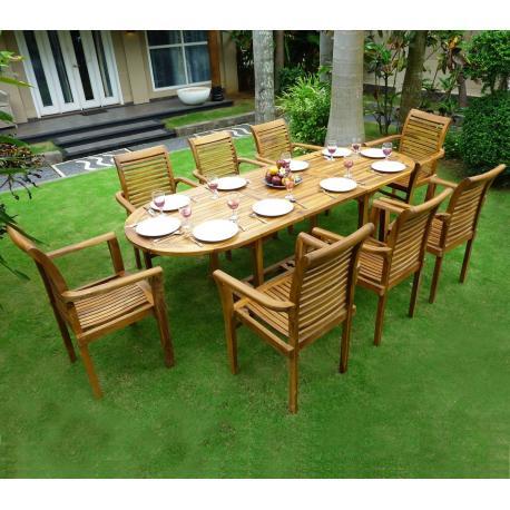 salon de jardin en teck 8 10 places ovale huile java raja