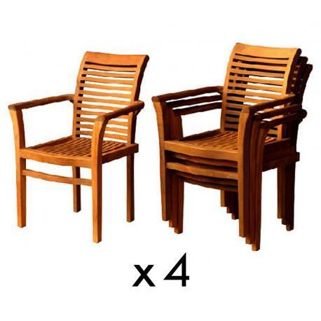 lot de 4 fauteuils de jardin teck huile raja