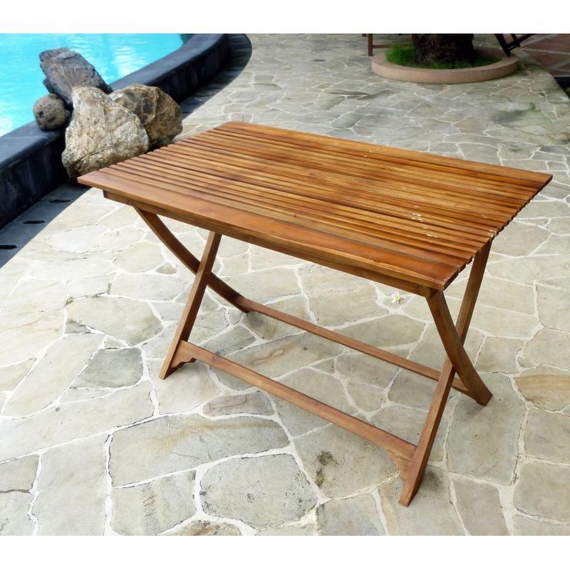 table pliable de jardin en teck avec 4
