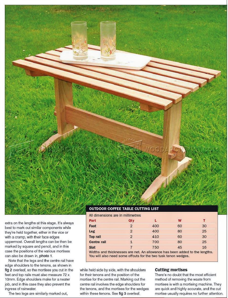 Outdoor Coffee Table Plans • WoodArchivist on Coffee Table Plans  id=58351