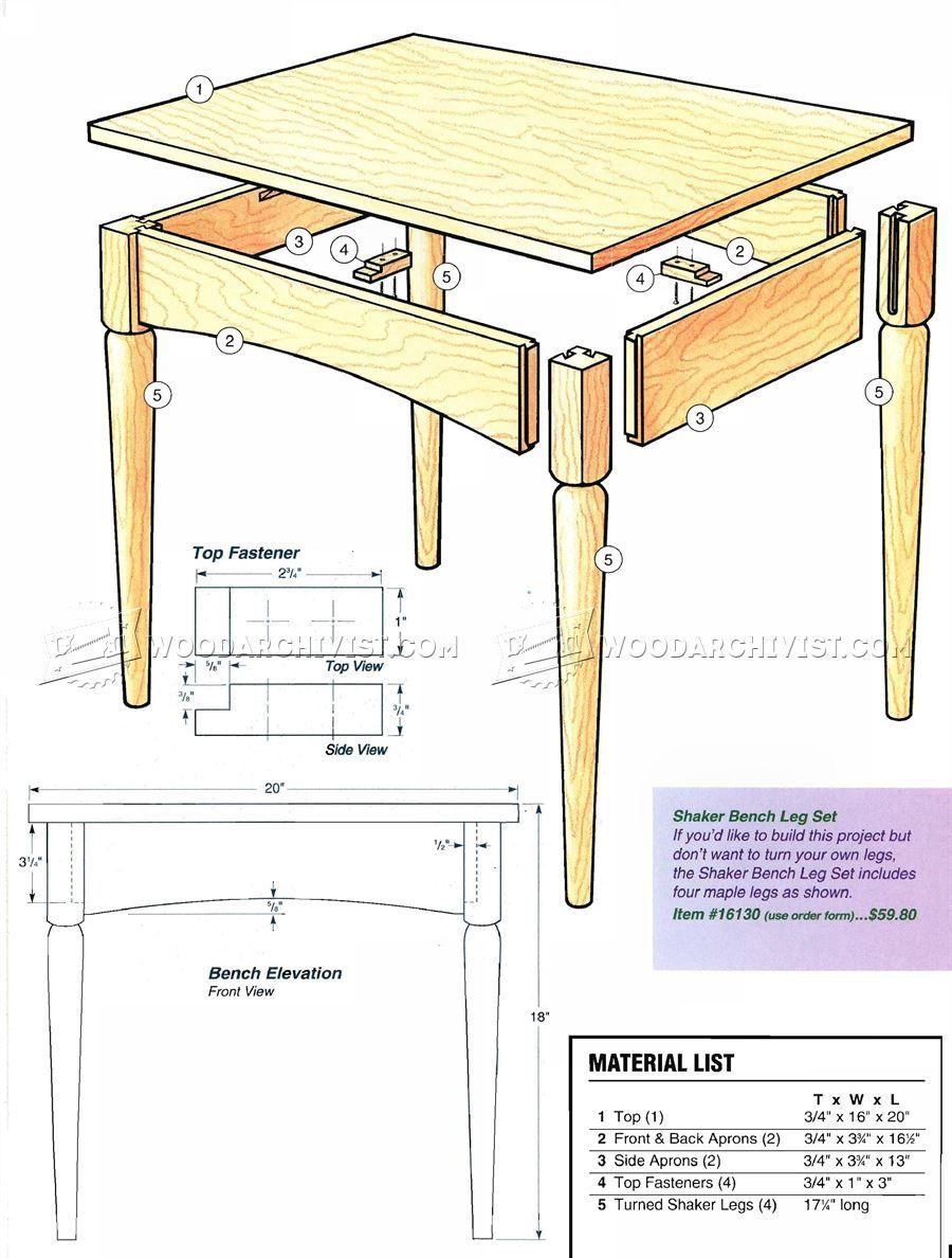 Shaker Bench Plans Woodarchivist