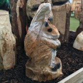 squirel wood carving woodbank nurseries