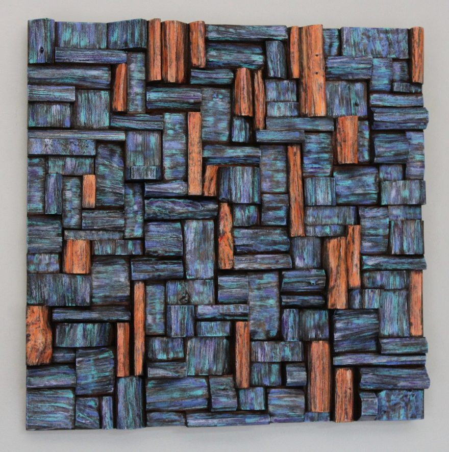 Stunning wood assemblage by Canadian artist Olga Oreshyna combines richly textured surfaces and vibrant and radiant abstract painting