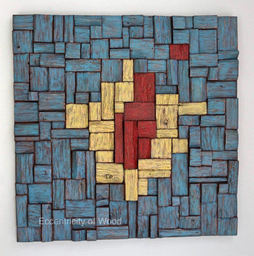 corporate art, wood art, wood wall sculpture, wood blocks assemblage, acoustic art, wood interior design, home decor, wall art