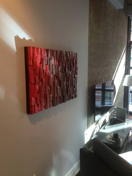 wood wall art, corporate art, hospitality art, office art, contemporary wood art, wood blocks assemblage, acoustic panel, acoustic art, interior design, home decor,