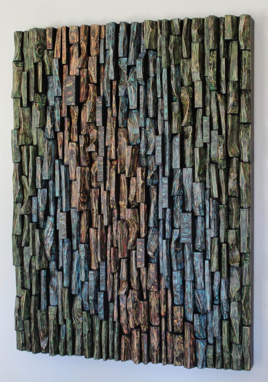 Contemporary hand carved wood wall sculpture by Canadian artist Olga Oreshyna, a striking piece of art creates a strong focal point and makes an incredible feature, and improve your acoustic at the same time.