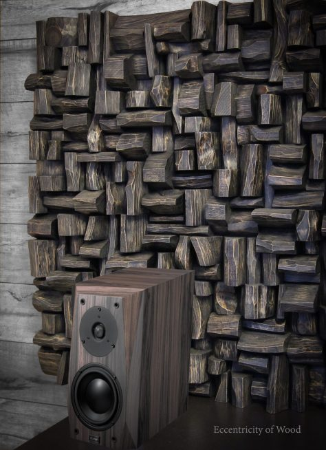 wood blocks sculpture, art acoustic panel